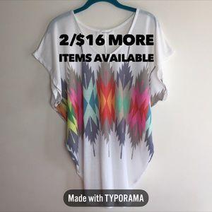 2/$16 Enti Glamour | Oversize Multi Color Shirt